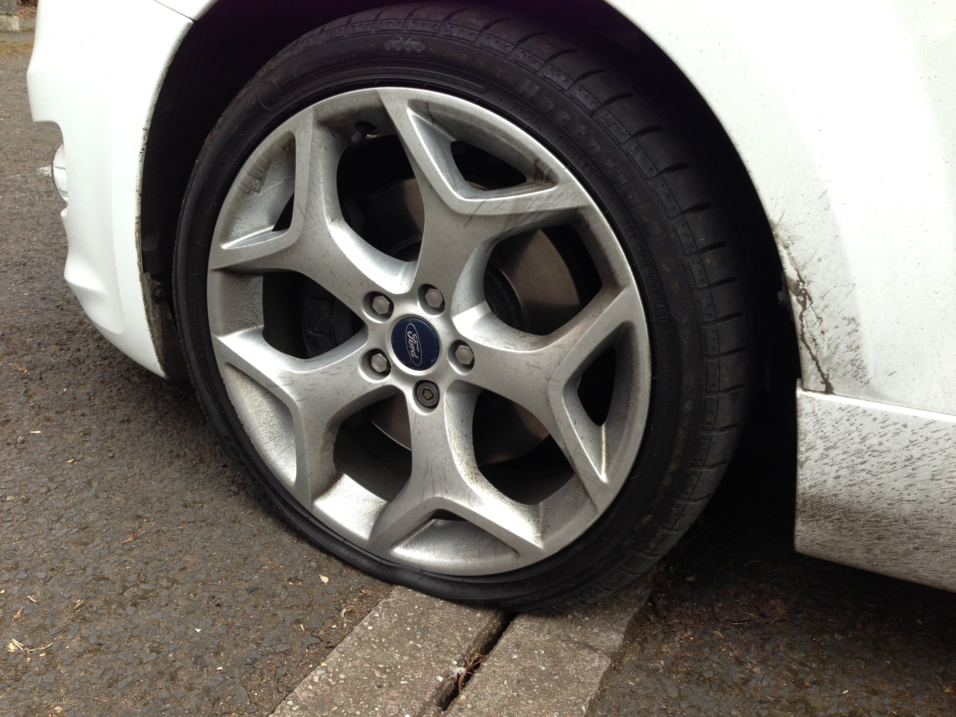 car tyre punctures in need of repair