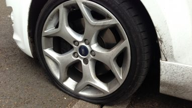 car tyre punctures in need of repair